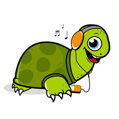 Turtle listening to music