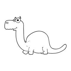 black and white cartoon dinosaur