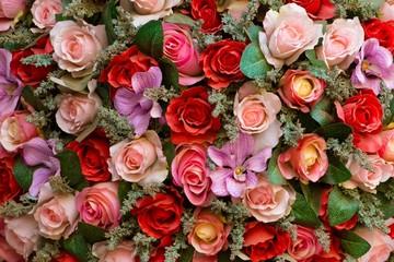 Fake colorful roses