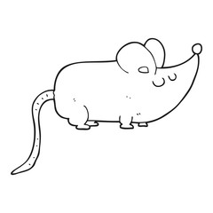 cute black and white cartoon mouse