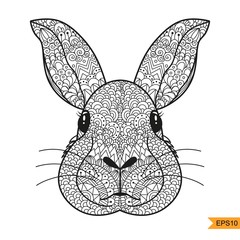 Zentangle Rabbit head for for adult antistress coloring page