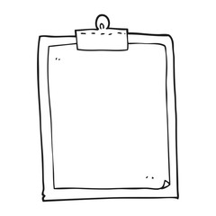 black and white cartoon clipboard