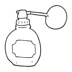 black and white cartoon perfume bottle