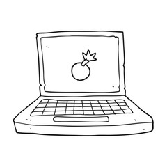 black and white cartoon laptop computer with bomb symbol