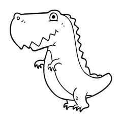 black and white cartoon dinosaur
