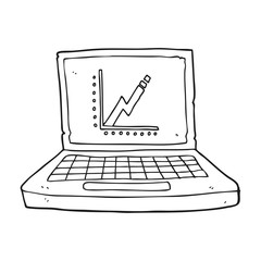 black and white cartoon laptop computer with business graph