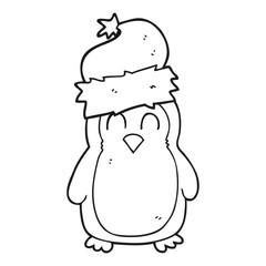 black and white cartoon penguin