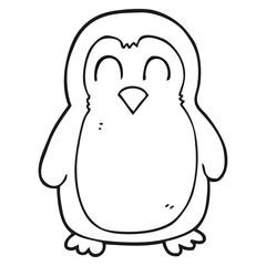 black and white cartoon bird