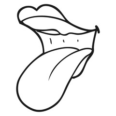 black and white cartoon mouth sticking out tongue