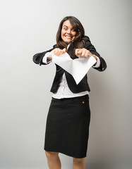 Termination of the contract business woman tearing paper