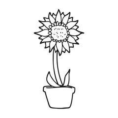 black and white cartoon sunflower