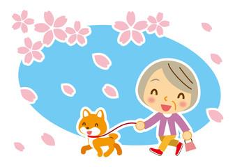 桜吹雪 ワンちゃんとお婆ちゃん
