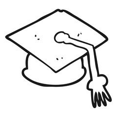black and white cartoon graduation cap
