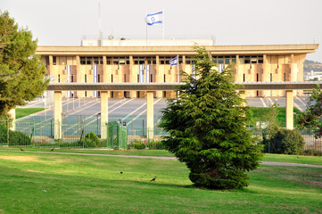 The Knesset (Israeli parliament) under the evening light. Situated in Jerusalem.