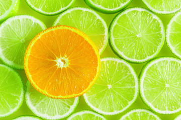 Citrus background, orange and lime slices