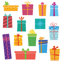 Set of colorful gift boxes on white background. Vector version.