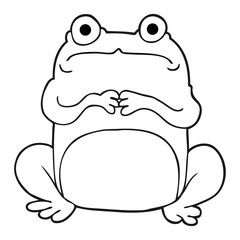 black and white cartoon nervous frog