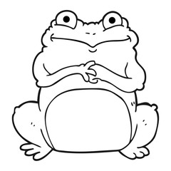 black and white cartoon funny frog