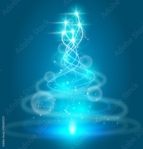 Wall mural Abstract blue cold ice twinkle flies in spiral. Frozen fairy star trail sparkling background with spark and bokeh. Fantasy magic light flare curl line neon glow