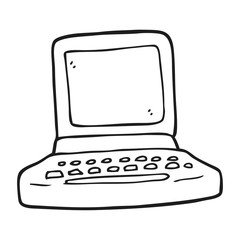 black and white cartoon old computer