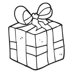 black and white cartoon christmas present