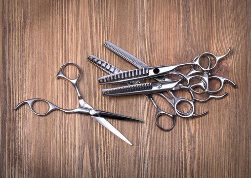 hairdresser scissors on table
