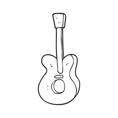 black and white cartoon guitar