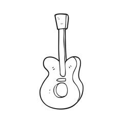 black and white cartoon guitar