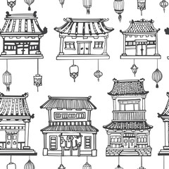 Vector oriental seamless pattern with asian architecture