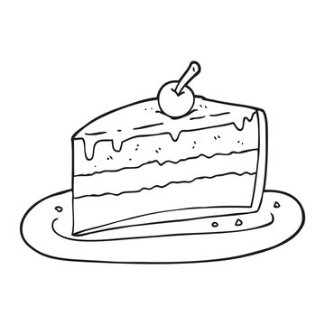 black and white cartoon slice of cake
