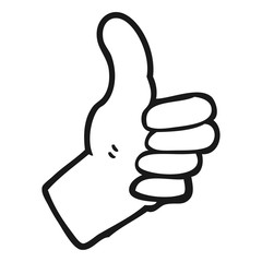 black and white cartoon thumbs up sign