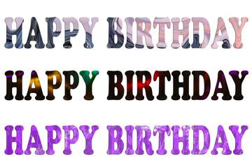 happy birthday text colage