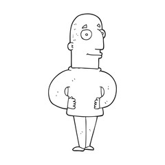black and white cartoon content man