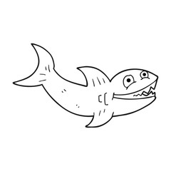 black and white cartoon shark