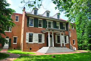 Lancaster, Pennsylvania:  Front facade of federal historic Wheatland mansion, home of James Buchanan. the 15th President of the United States *