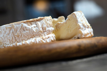 Close up of slice camembert cheese