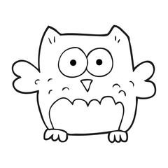 black and white cartoon owl