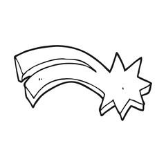 black and white cartoon decorative shooting star