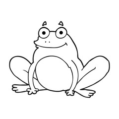 black and white cartoon happy frog