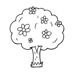 black and white cartoon tree with flowers