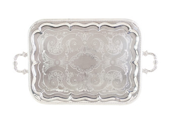 Antique silver tray,isolated on white with a clipping path.