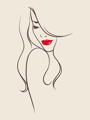 Beauty salon design. Portrait of pretty young woman with long beautiful eyelashes and bright red lips. Vector illustration
