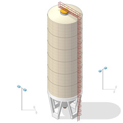 Grain silo isometric building infographic, big ochre seed elevator on white background. Illustration set for article, agriculture, farming, husbandry. Flatten isolated master vector.