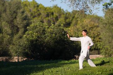 young man doing Tai Chi