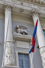 Piran Town Hall with city flag in Slovenia