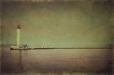 Lighthouse in the bay (vintage style)