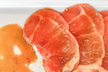 Fresh pork slices with sauce for bbq