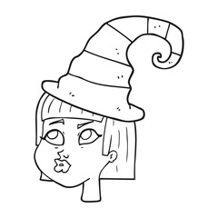 black and white cartoon witch