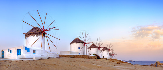 Traditional greek windmills on Mykonos island, Cyclades, Greece Fototapete