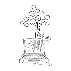 black and white cartoon broken computer